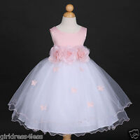 Pink Princess Butterfly Party Wedding Flower Girl Dress 6M 12M 18M 2 4 5/6 8 10