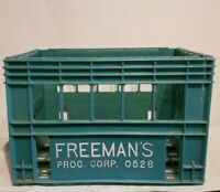 Freeman's Processing Corp Vintage Wood Milk Crate Dairy Green Plastic