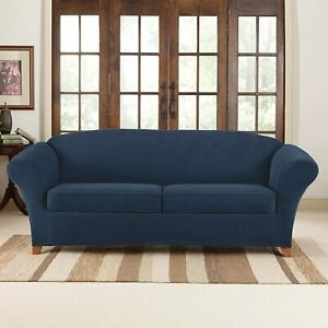 New Sure Fit Stretch Pique 3 piece waffle weave Sofa Slipcover in NAVY blue