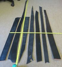 """7 BLACK  LEATHER PIECES    3 - 4mm THICK -  CLEARANCE - MAX LENGTH 64"""""""