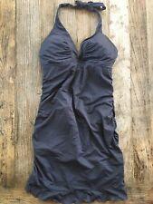 Athleta Shirr Swim Dress One Piece Swimsuit, Gray