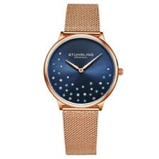 Stuhrling Original 3928 4 Quartz Crystal Accented Mesh Bracelet Womens Watch