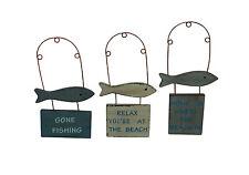Gisela Graham Set of 3 Fish Plaques - Bathroom Plaques - Novelty Fish Plaques