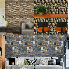 Wall Paper 3D Brick Stone Rustic Effect Self-adhesive Wall Sticker Home Decor