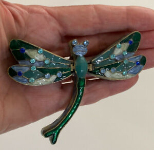 Dragonfly Bejeweled & Enameled Double Hinged Trinket Box Crystals Blue