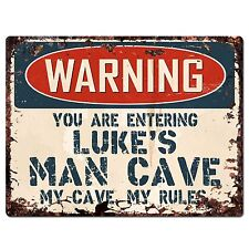 PP3435 WARNING ENTERING LUKE'S MAN CAVE Chic Sign Home Decor Funny Gift