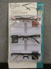 Design Optics by Foster Grant Women's Semi-Rimless Reading Glasses 3-pack +1.75