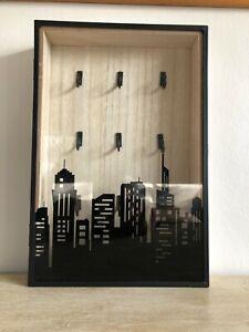key storage box wooden with glass door 9 hooks H30cm W20 D5cm