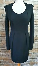 FRENCH CONNECTION BLACK EVENING FITTED LONG SLEEVE DRESS SIZE 14