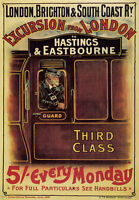 TW36 Vintage London Hastings & Eastbourne Brighton Railway Travel Poster A2/A3