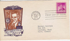 POSTAL HISTORY-1948 FDC WILL ROGERS ISSUE CACHET CRAFT 'WELL MY TIMES UP' OK CAN