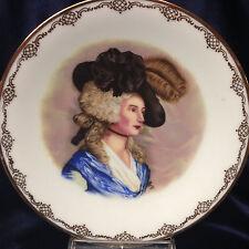 """KUBA JWK GERMANY PERIOD BLONDE WOMAN LADY IN BROWN HAT PLATE 7 5/8"""" BLUE DRESS"""