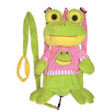 "Backpack 14"" Harness Leash 3-in-1 Plush Frog Green Yellow Pink New"