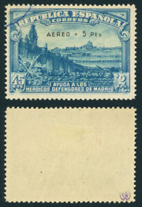 P119 SPAIN #759 USED. SIGNED. FIRMADO. IN MY OPINION THE OVERPRINT NOT GENUINE.