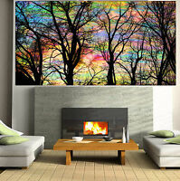 Art Painting hand painted Tree Forest Rainbow Abstract Canvas original artwork
