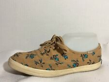 Keds Tan Blue Black Floral Womens 6.5 Med Sneakers Canvas Casual Shoes Classic