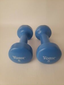 York Set of 2 Fitbell Baby Blue Rubber Coated Dumbbells 5 LB Each, Total 10 LBS