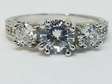Womens 925 Sterling Silver Hallmarked CZ Ring Size 10