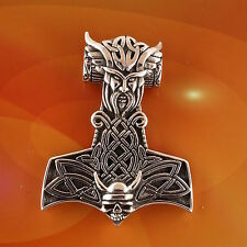 Sterling Silver Thor's Viking Hammer Pendant Odin Celtic Knotwork Free Shipping