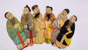 Unique Rare Vintage Asian Textile Figures Art Set of 6