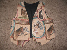 SOPHISTICATED EQUESTRIAN LADY GORGEOUS! HORSE TAPESTRY VEST BY NEW HUMOR TEXAS S