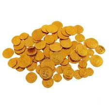 100Pcs Plastic Gold Mix Lot Coins Pinata Chest Paly Money for Children Party