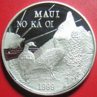 1999 HAWAII MAUI $1 TRADE DOLLAR 1oz SILVER PROOF NENE BIRDS GOOSE SUN WHALE RRR