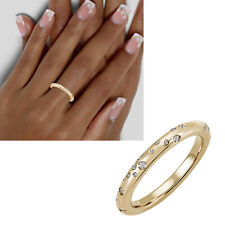Damen Ring 585 echt Gold viele Diamanten Hochglanz 14 Karat rund Gr. 50-60 neu