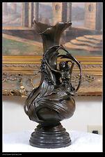 signed Milo bronze statue art deco girl w/flower art nouveau vase