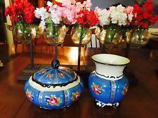 Rare Antique Mitterteich Bavaria Dresser Jewelry Set Vase and Bowl hand Painted