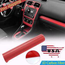 40*100cm 3D Car Interior Accessories Panel Red Carbon Fiber Wrap Sticker Decor