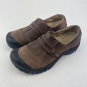 Keen Brown Leather 5440-POSL GTS 1110 Slip On Womens Hiking Shoes (Sz 9) EUC