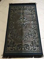Luxury Taffeta  Embossment Pattern  Islamic Prayer Rug  Musalla  Mat Blue/Gray