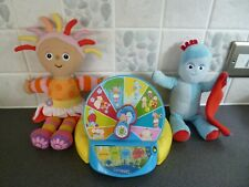 Interactive musical/talking wheel & Upsy Daisy & Iggle Piggle soft toys - clean