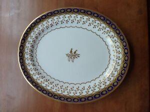 """Antique Royal Worcester 1884 Porcelain Platter Cobalt Blue Gold Trim 11 1/4"""" #61"""