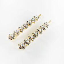 USA Bobby Pin Rhinestone Crystal Hair Clip Hairpin Jeweled Flower Gold B15
