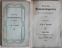 Rumohr: Deutsche Denkwürdigkeiten. 3. Teil 1832 - Geschichte Deutschland - xz