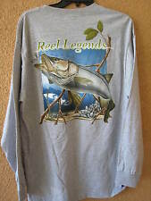 REEL LEGENDS MEN'S LG GRAY ASSORTED FISH LONG SLEEVE T-SHIRT (NWT)