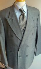 Vtg Hardy Amies Puppytooth Double Breasted 3 Piece Vested Suit 42R British Look