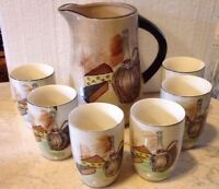 Mid Century Royal Sealy Japan Capri Wine Set Pitcher And 6 Cups