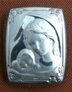 MADONNA WITH CHILD SILVER PLATED PICTURE from Italy, new!