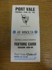1988/1989 Port Vale: Accesorio oficial Folleto-cuatro páginas (con los resultados se indique).