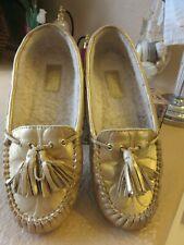 Coach Anita Moccasins Womens Size 7 B Gold Fuzzy Tassels slippers