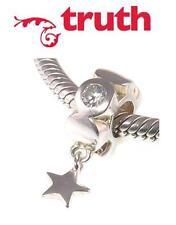 Genuine TRUTH PK 925 sterling silver dangle sparkle lucky star charm bead
