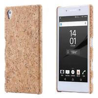 Sony Xperia Z5 CORCHO FUNDA MADERA NATURAL HARD CASE CASO COVER CAJA
