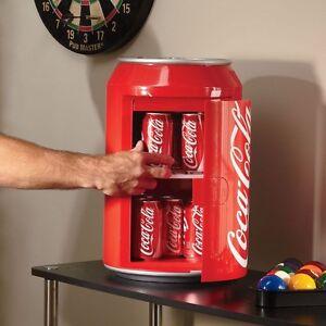 Compact Coca-Cola Can Refrigerator, Mini Countertop Coke Soda Retro Gift Fridge