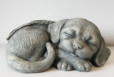 Outdoor Garden Resin Animal Gift Ornament Sleeping Angel Wings Grey Puppy Dog