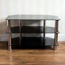 TV Stand Glass Black Entertainment System Storage 3 Tier 2 Shelves Glass Modern