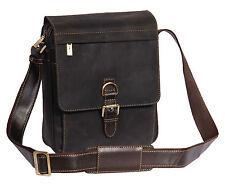 Vintage Real Leather Shoulder Cross Body Organiser Work iPad Tablet Bag Brown