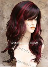 Beautiful Black and Burgundy Mix Wavy Long Wig with skin top JSPP 1B-Burg